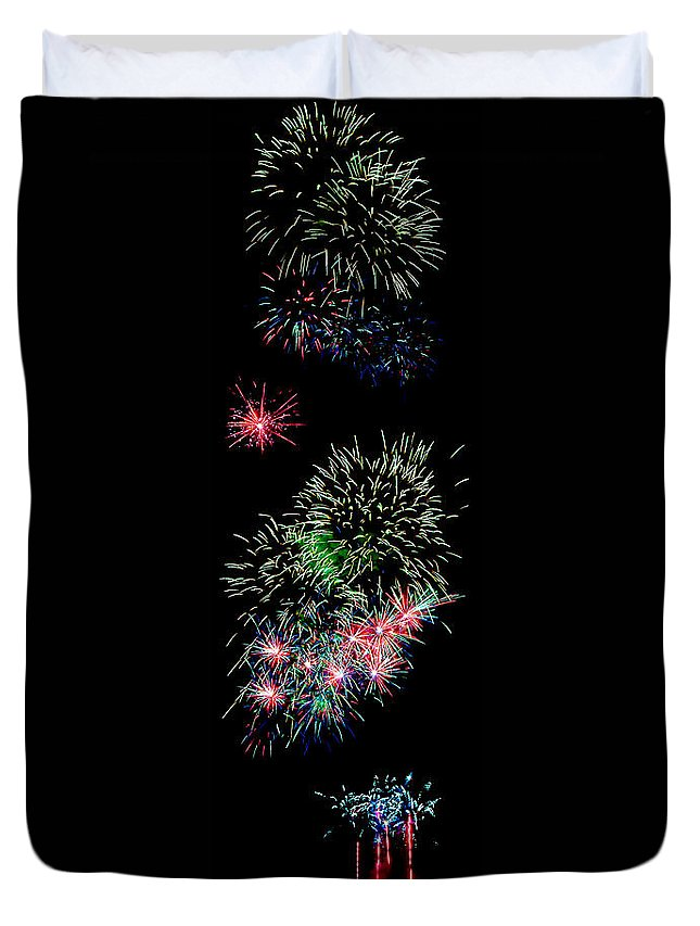 Fireworks Duvet Cover featuring the photograph Fireworks Over The Bay by Weston Westmoreland