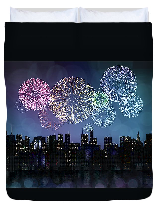 Event Duvet Cover featuring the digital art Fireworks Over The City by Magnilion