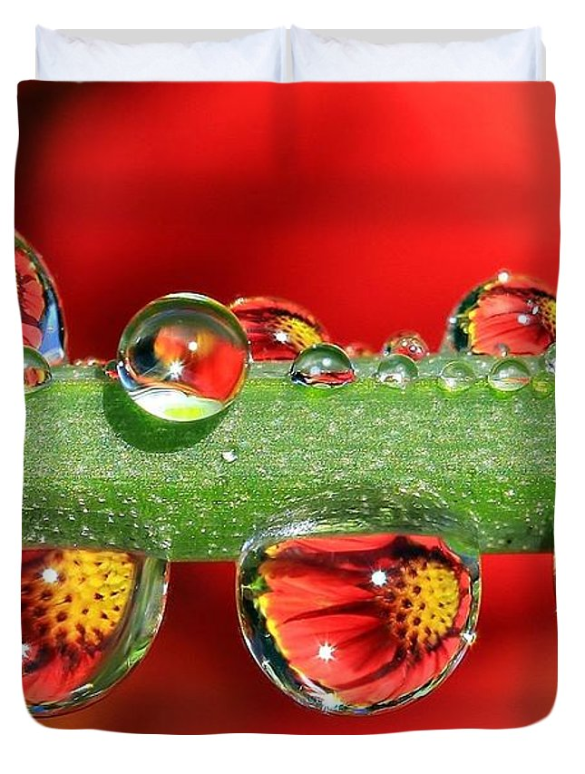 Water Drops Duvet Cover featuring the photograph Firey Drops by Gary Yost