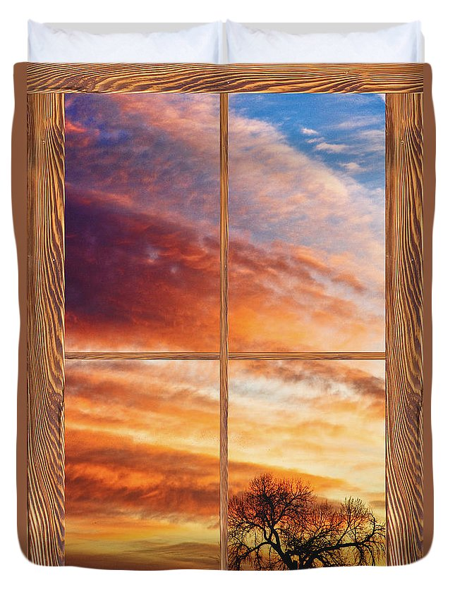 Sunrise Duvet Cover featuring the photograph First Dawn Barn Wood Picture Window Frame View by James BO Insogna