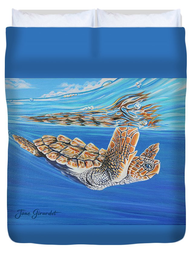 Ocean Duvet Cover featuring the painting First Dive by Jane Girardot