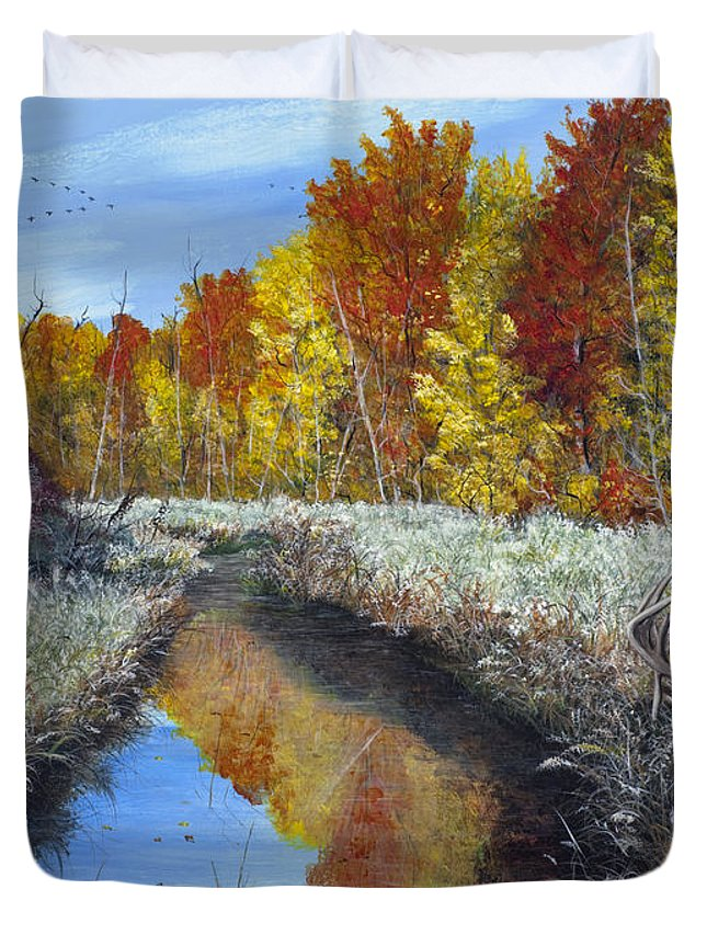 Fall Duvet Cover featuring the painting First Frost In The Coulee by Catfish Lawrence