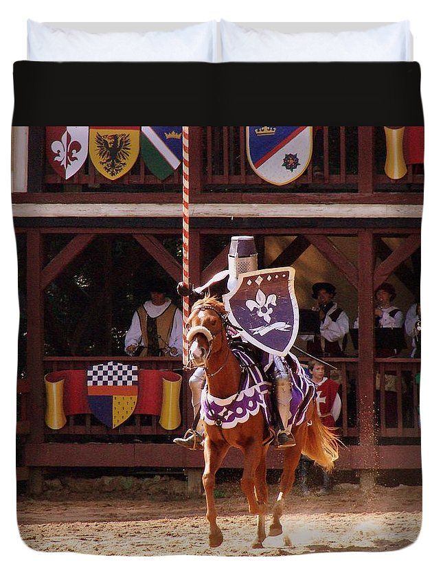 Knights Duvet Cover featuring the photograph First Lance by Rodney Lee Williams