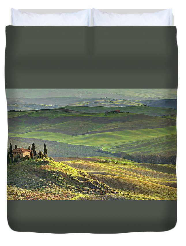Scenics Duvet Cover featuring the photograph First Light In Tuscany by Maurice Ford