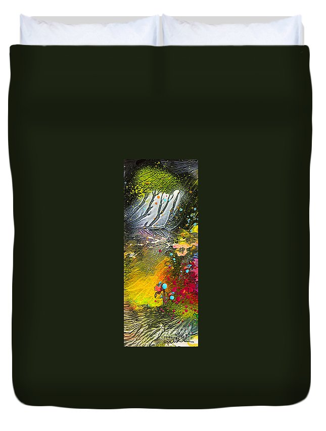 Miki Duvet Cover featuring the painting First Light by Miki De Goodaboom
