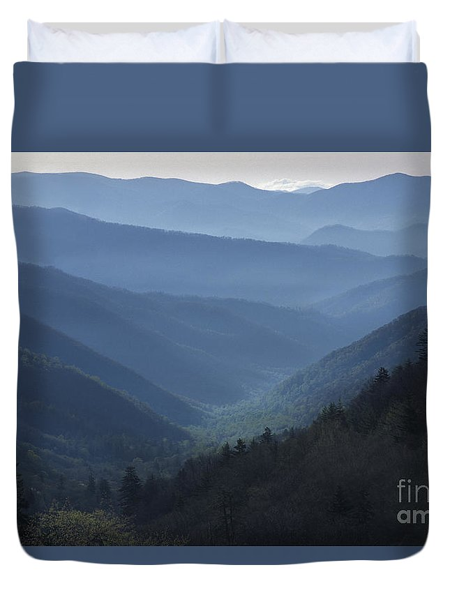 Landscape Duvet Cover featuring the photograph First Light On Clingman's Dome by Sandra Bronstein