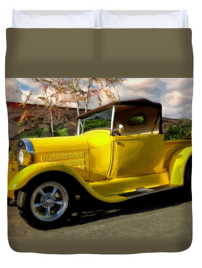 1928 Ford Pick Up Duvet Cover featuring the painting First Love by Michael Pickett