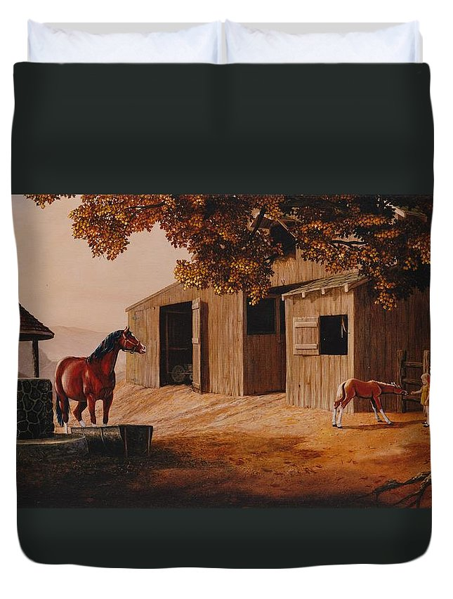 Farm Duvet Cover featuring the painting First Meeting by Duane R Probus