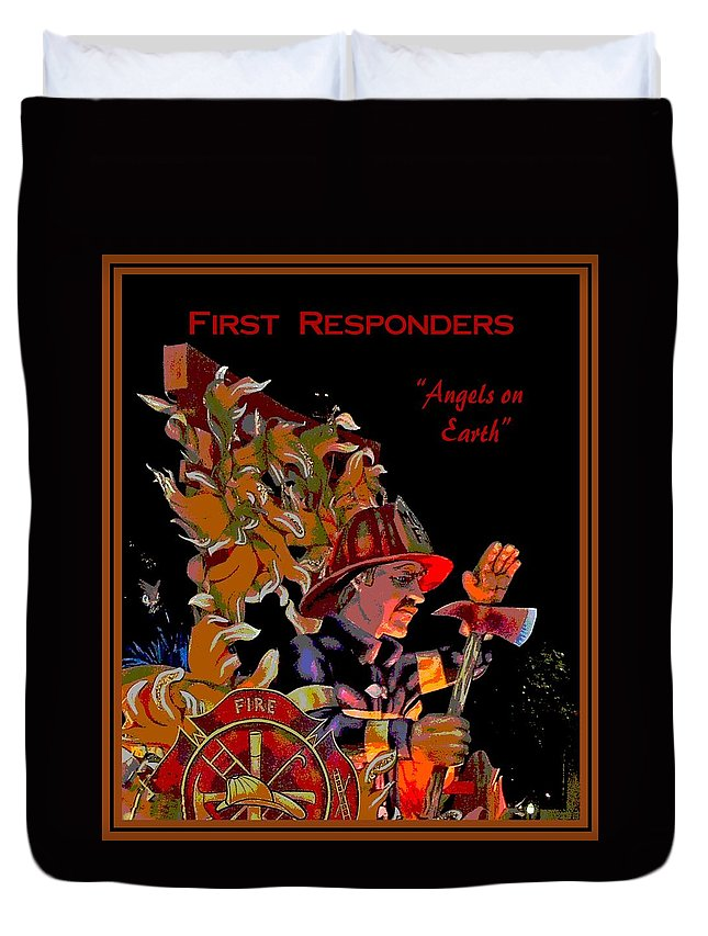 Digital Art Duvet Cover featuring the photograph First Responders - Angels On Earth by Marian Bell