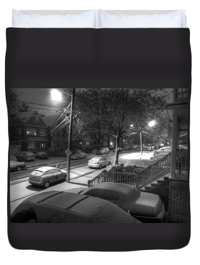 First Duvet Cover featuring the photograph First Snow by Wayne Gill
