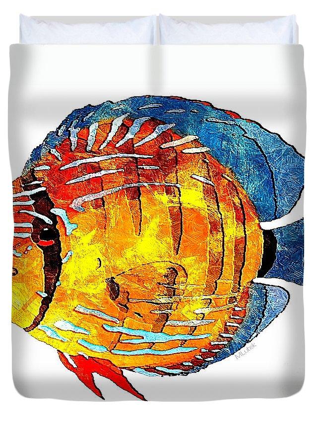 Abstract Duvet Cover featuring the digital art Fish 502-11-13 Marucii by Marek Lutek