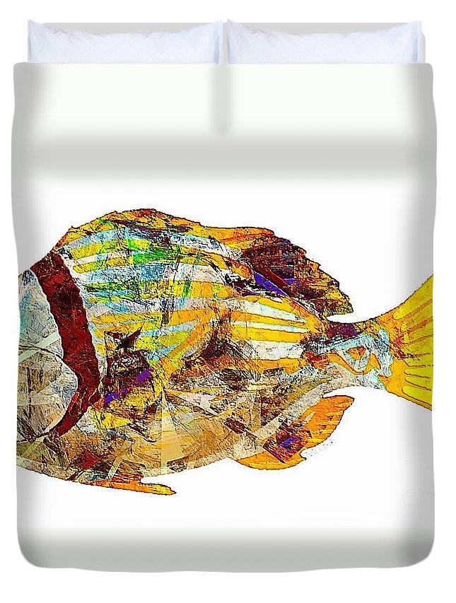 Abstract Duvet Cover featuring the digital art Fish 506-11-13 Marucii by Marek Lutek