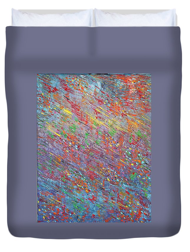 Fish Duvet Cover featuring the painting Fish To The Top by George Riney
