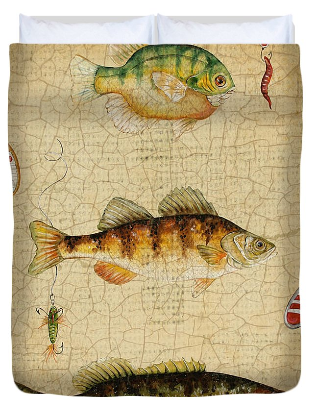 Acrylic Painting Duvet Cover featuring the painting Fish Trio-c-basket Weave by Jean Plout