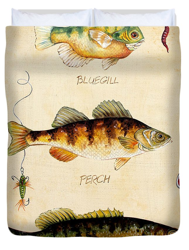 Acrylic Painting Duvet Cover featuring the painting Fish Trio-c by Jean Plout