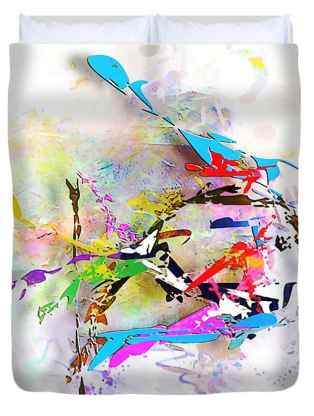 Painting Duvet Cover featuring the digital art fish XXIV - marucii by Marek Lutek