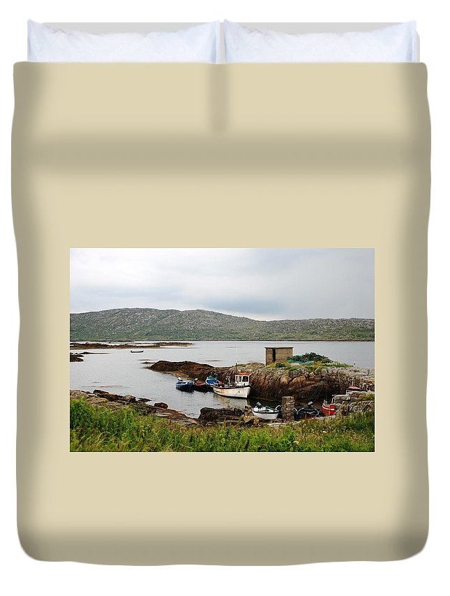Boats Duvet Cover featuring the photograph Fishermans Landing by Charlie and Norma Brock