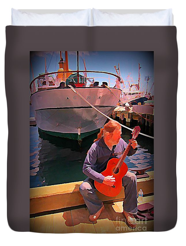 Fishermans Song Duvet Cover featuring the painting Fishermans Song by John Malone