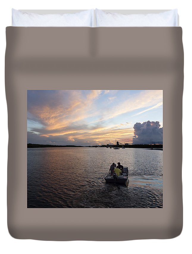 Sunset Duvet Cover featuring the photograph Fishers of the Night by Norman Johnson