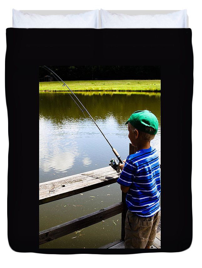 Fishing Duvet Cover featuring the photograph Fishin' by Nicole Tredup