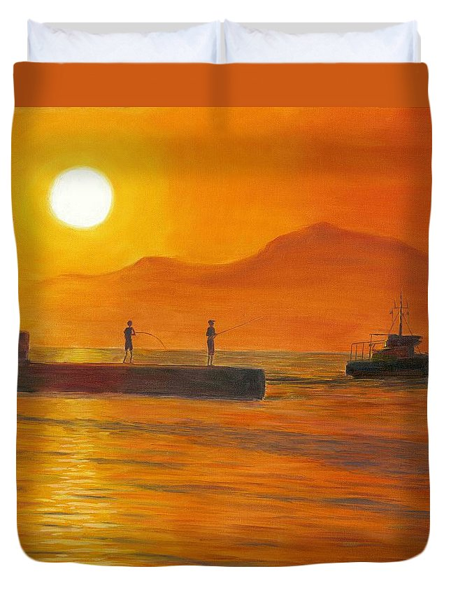 Sunset Duvet Cover featuring the painting Fishing At Sunset by Nicolas Nomicos