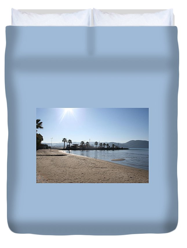 Sand Duvet Cover featuring the photograph Fishing Boat Jetty by Tracey Harrington-Simpson