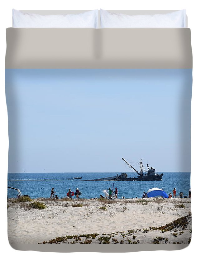 Hotel Del Coronado Duvet Cover featuring the photograph Fishing Boat by Steve Scheunemann