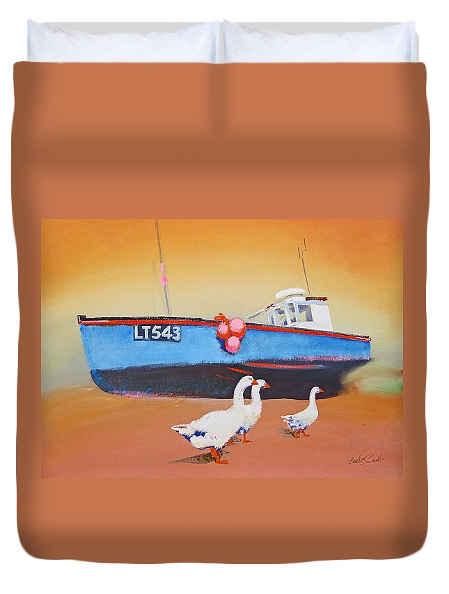 Geese Duvet Cover featuring the painting Fishing Boat Walberswick With Geese by Charles Stuart