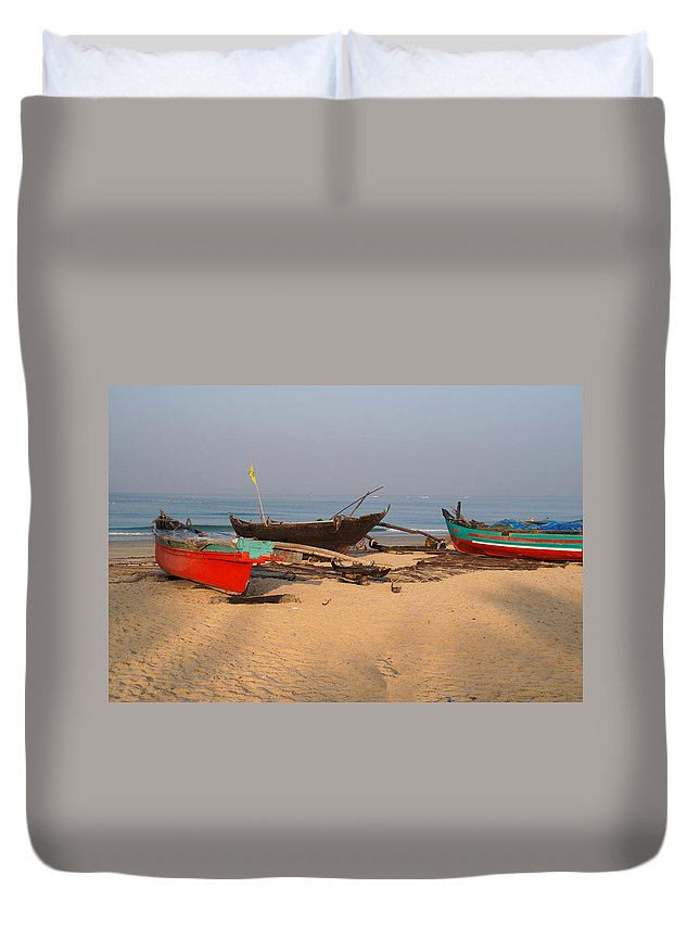 Boats Duvet Cover featuring the digital art Fishing Boats by Carol Ailles