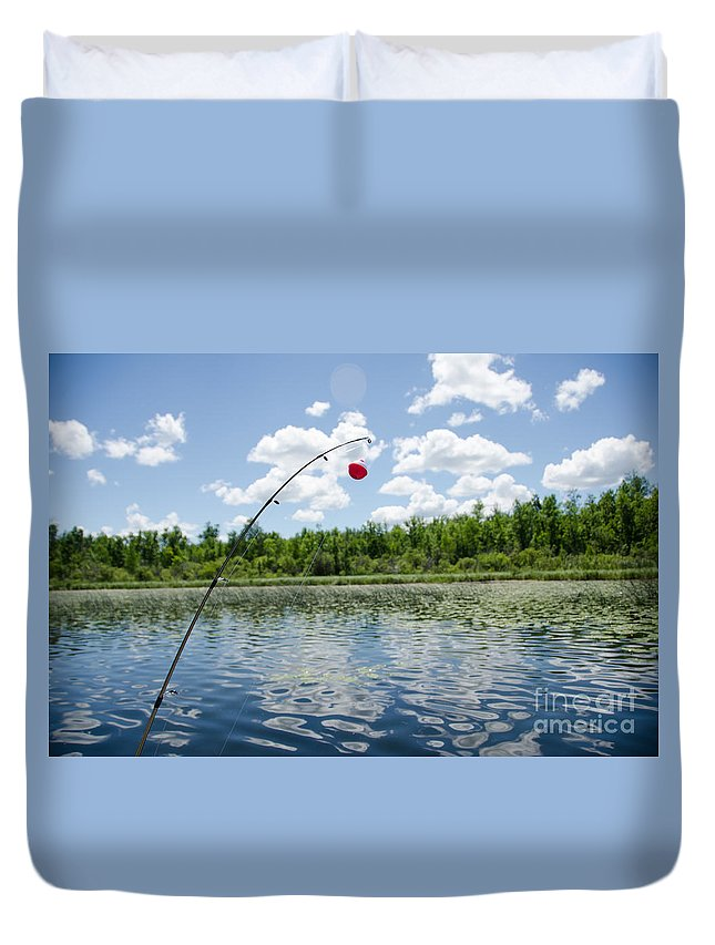 Ice Duvet Cover featuring the photograph Fishing by Cassie Marie Photography