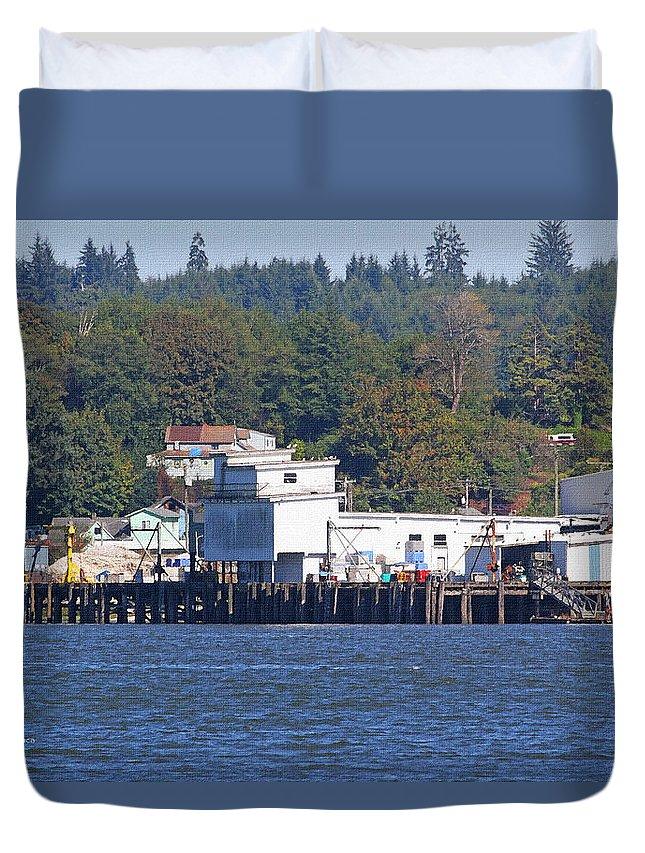 Fishing Docks On Puget Sound Duvet Cover featuring the photograph Fishing Docks On Puget Sound by Tom Janca