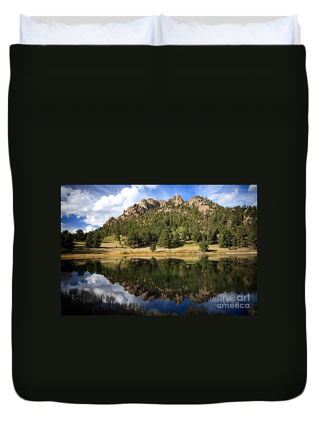 America Duvet Cover featuring the photograph Fishing In Solitude by Karen Lee Ensley