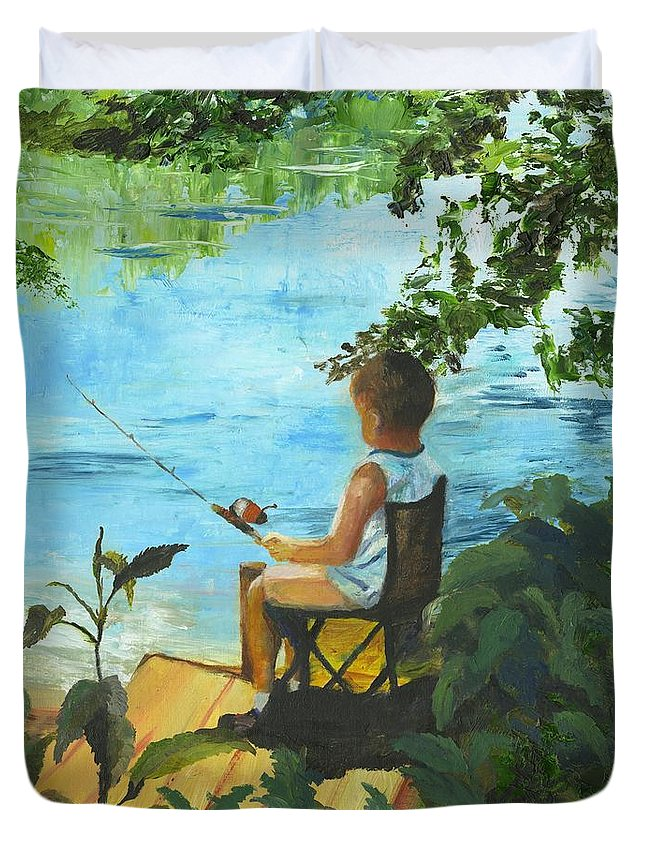 Fishing Duvet Cover featuring the painting Fishing Off The Dock by Gloria Condon