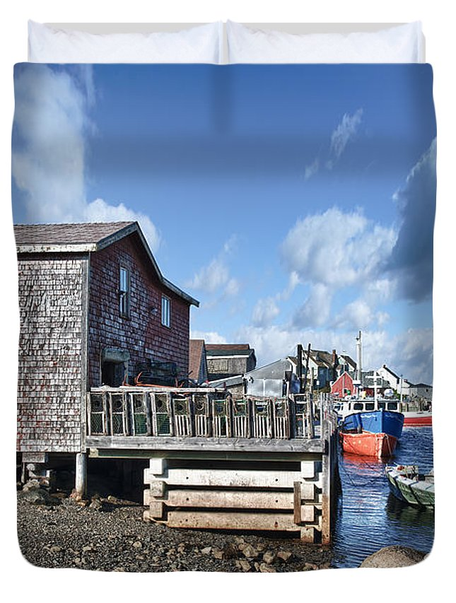 Primary Duvet Cover featuring the photograph Fishing Town by Renee Sullivan