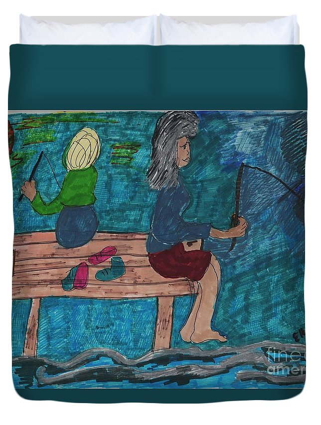 A Mother And A Daughter Fishing Duvet Cover featuring the mixed media Fishing Under The Evening Sky On A Cool Autumn Night by Elinor Helen Rakowski