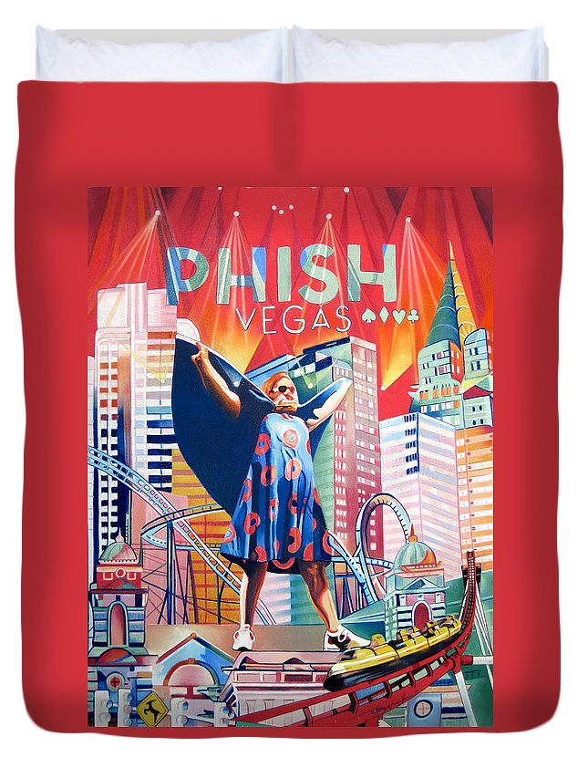 Phish Duvet Cover featuring the drawing Fishman In Vegas by Joshua Morton