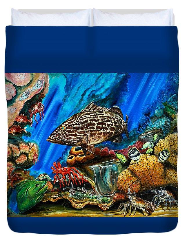 Grouper Art Duvet Cover featuring the painting Fishtank by Steve Ozment
