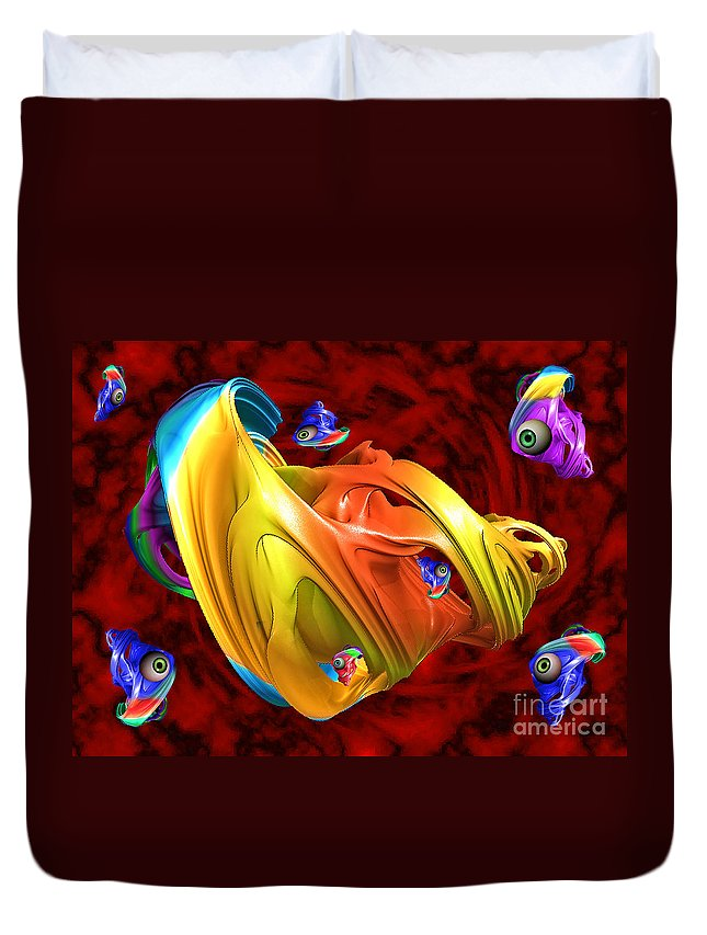 Digital Duvet Cover featuring the photograph Fishy Fractelus by Rob Hawkins