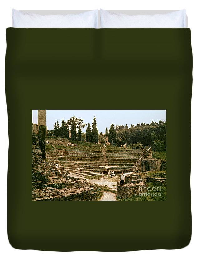 Fiesole Theatre Ruins Ruin People Person Persons Structure Structures Architecture Seat Seats Stark Stairs Building Buildings Stone Wall Stones Walls Landscape Landscapes Italy Duvet Cover featuring the photograph Fisole Theatre Ruins by Bob Phillips