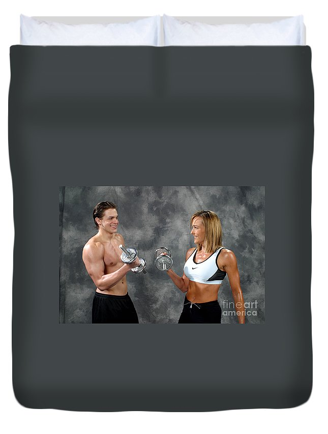 Model Duvet Cover featuring the photograph Fitness Couple 9 by Gary Gingrich Galleries
