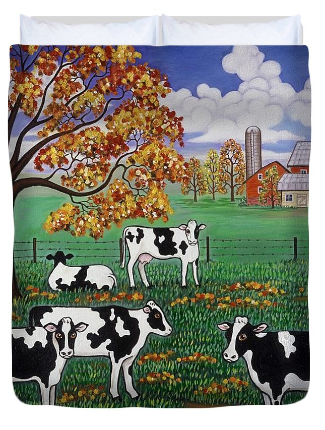 Folk Art Landscape Duvet Cover featuring the painting Five Black And White Cows by Linda Mears