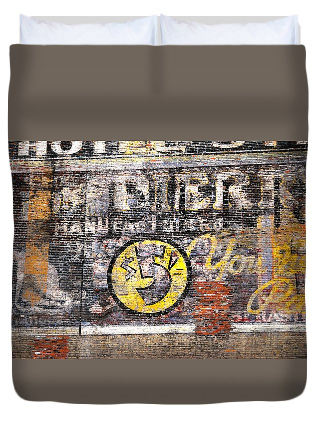 Street Photography Duvet Cover featuring the photograph Five Buck Sign by The Artist Project