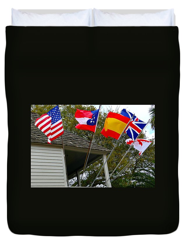 Flag Duvet Cover featuring the photograph Five Flags by Denise Mazzocco
