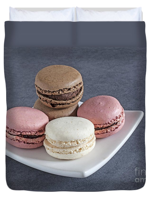 Macaroons Duvet Cover featuring the photograph Five Macaroons by Liz Leyden