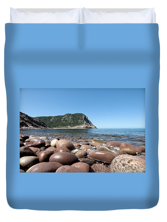Landscape Duvet Cover featuring the photograph five steps to paradise - Giant pebbles is Menorca north shore close to Cala Pilar beach by Pedro Cardona Llambias