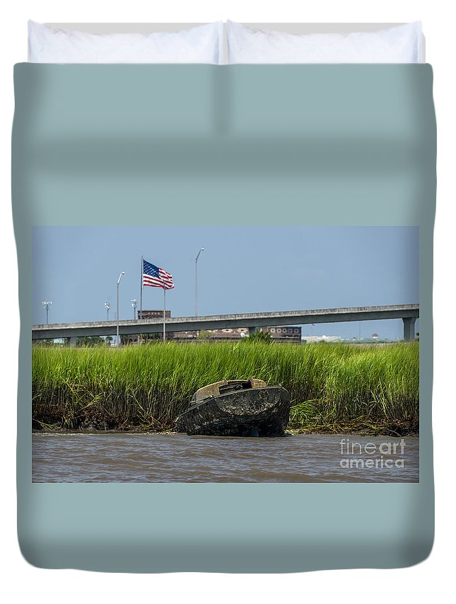 Sunken Boat Duvet Cover featuring the photograph Fixer Upper by Dale Powell