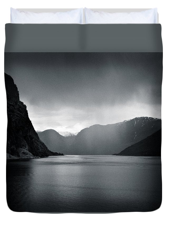 Norway Duvet Cover featuring the photograph Fjord Rain by Dave Bowman