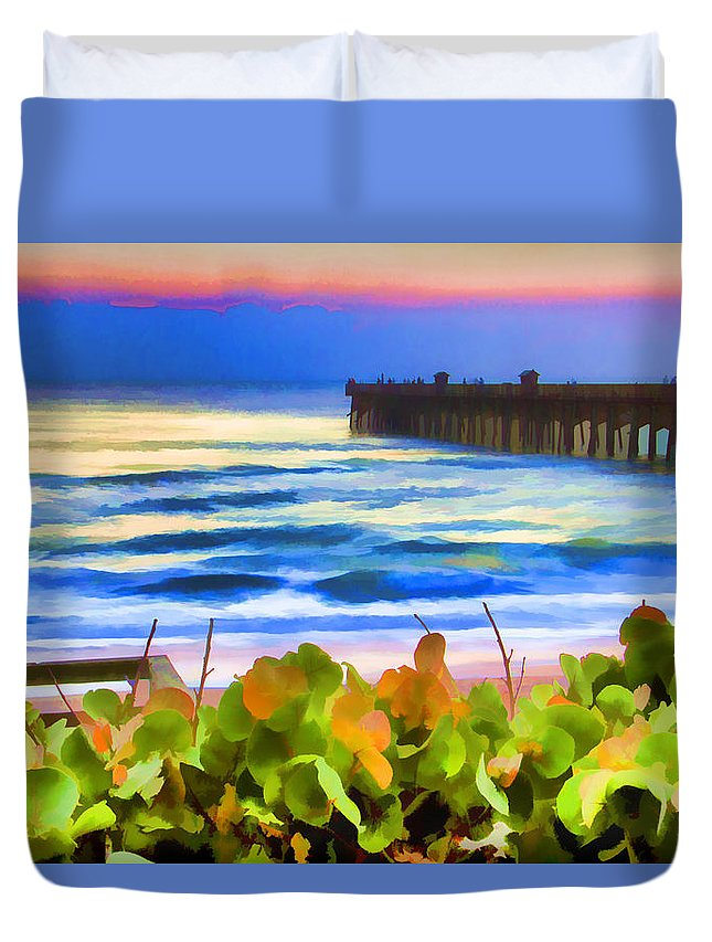 Flagler Beach Pier Scenic Florida Duvet Cover featuring the photograph Flagler Beach Beautiful by Alice Gipson