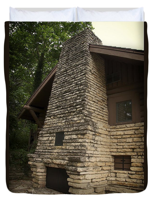 Fireplace Duvet Cover featuring the photograph Flagstone Fireplace by Thomas Woolworth