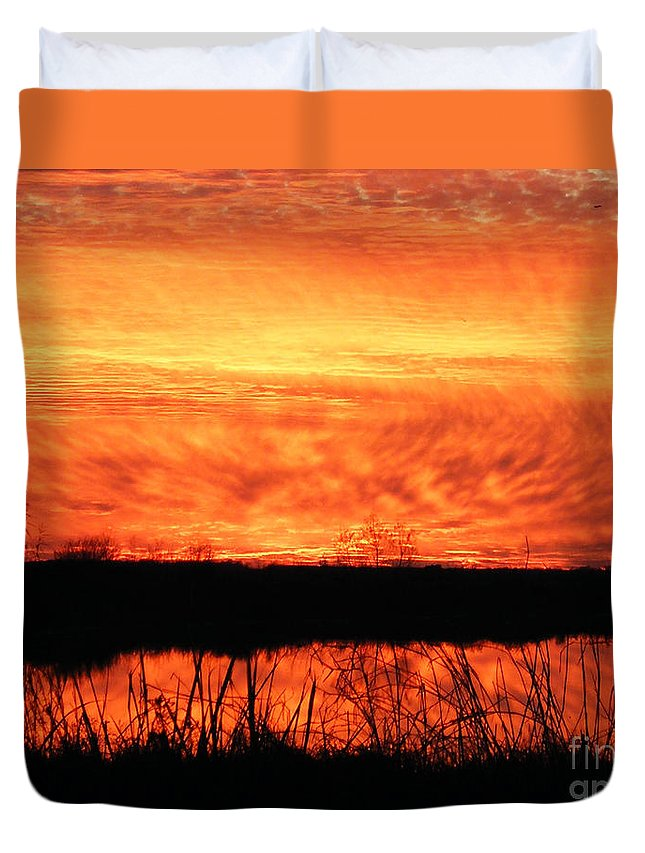 Sunset Duvet Cover featuring the photograph Flamed Sunset by Lizi Beard-Ward